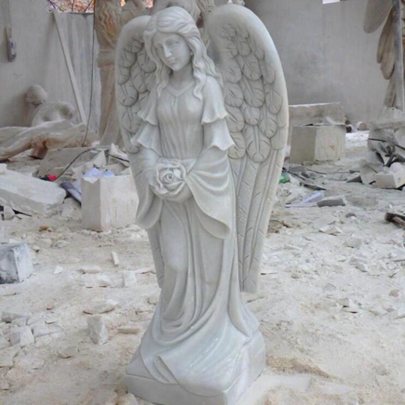 Garden Female Marble Angel Statue for Germany Customer (4)