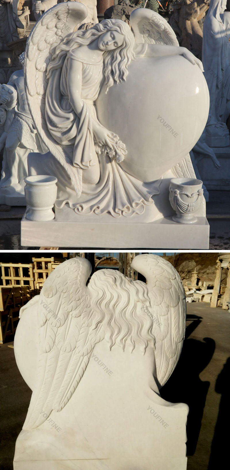 Heart Style Angel Marble Monument Tombstone (3)