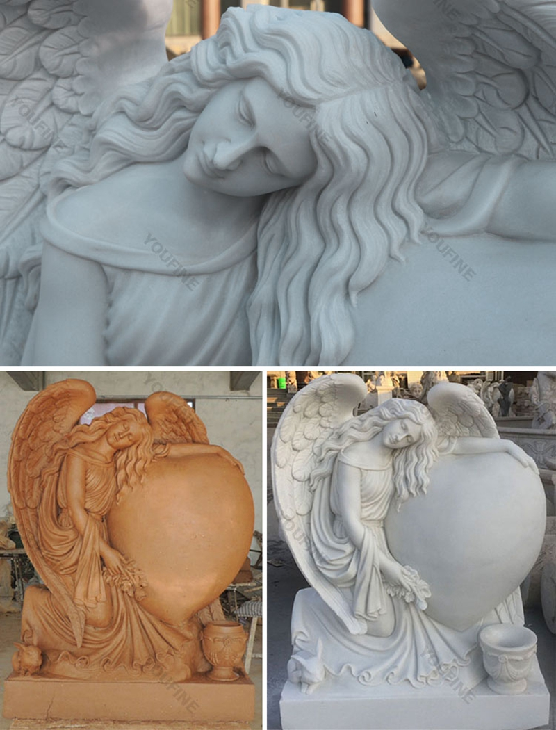 Heart Style Angel Marble Monument Tombstone (4)