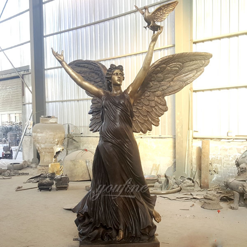 Holding Peace Pigeon Female Bronze Angel Statue (2)