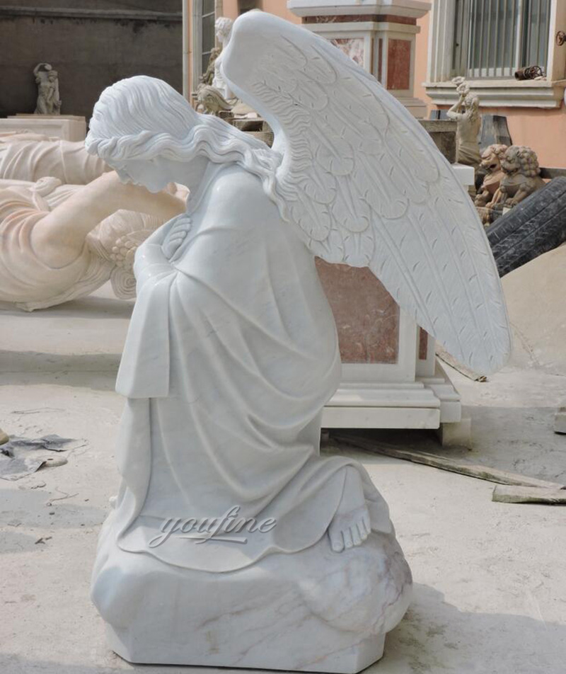 Kneel Praying Female Marble Angel Statue (2)