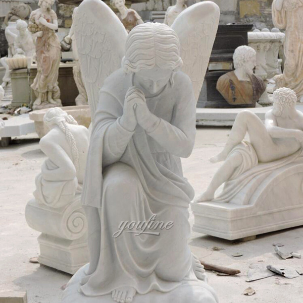 Kneel Praying Female Marble Angel Statue (4)
