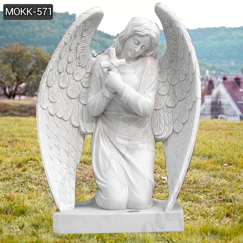 Kneeling Angel Holding Cross Praying Marble Angel Monument (4)
