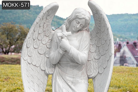 Kneeling Angel Holding Cross Praying Marble Angel Monument (5)
