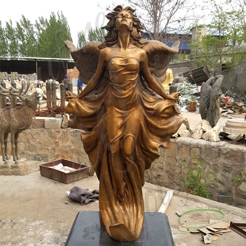 Life Size Gorgeous Flying Female Angel Bronze Statue (1)