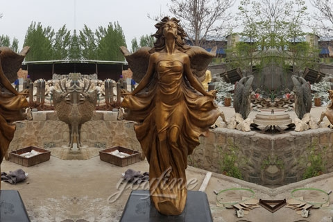 Life Size Gorgeous Flying Female Angel Bronze Statue (2)