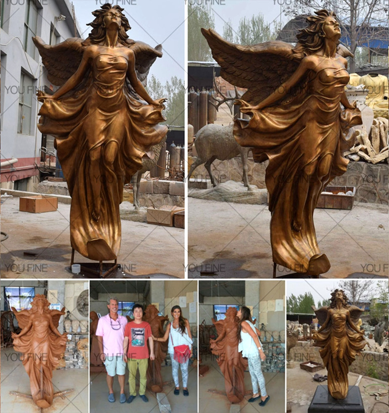 Life Size Gorgeous Flying Female Angel Bronze Statue (3)