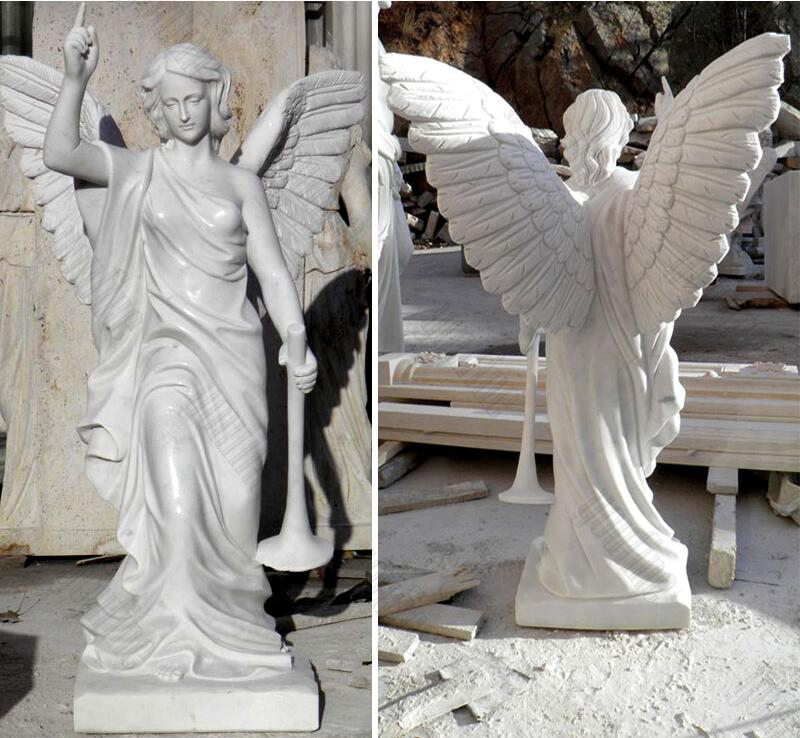 Life Size Holding Horn Female Angel Marble Statue (5)