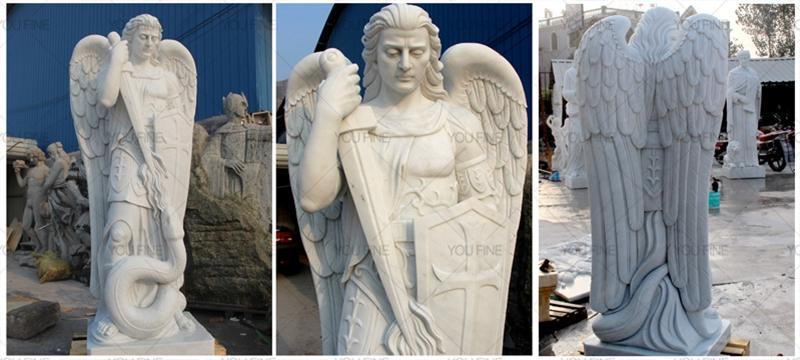 Life Size The Archangel Saint Michael Marble Sculpture (1)