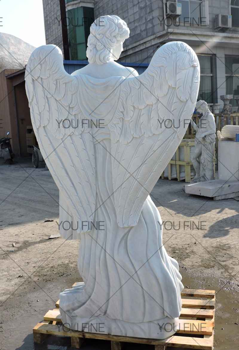 Custom Large White Marble Angel Statues for Customer (1)