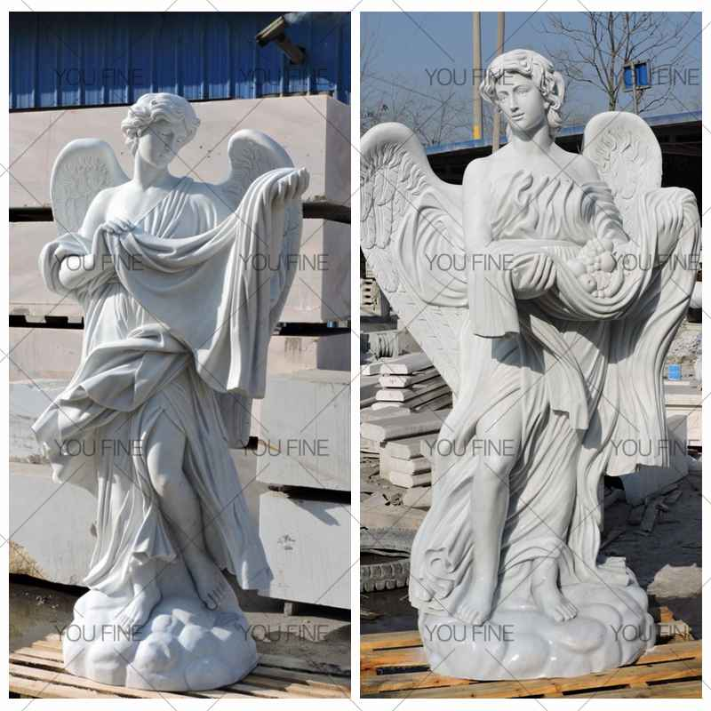 Custom Large White Marble Angel Statues for Customer (2)