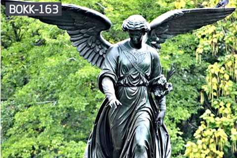 Custom Made Big Wings Angel Bronze Statue Garden Ornaments (2)