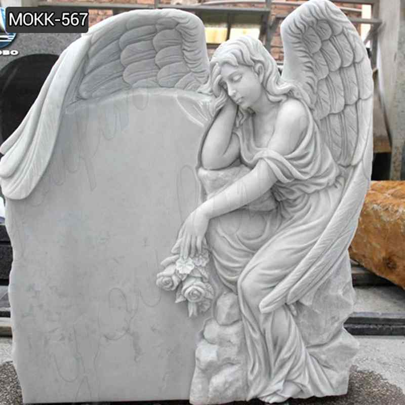 Custom Made Natural Stone White Marble Angel Monument (3)