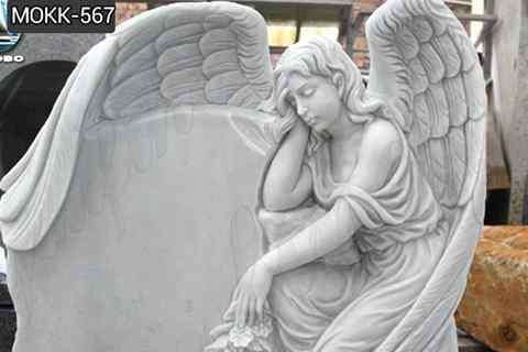 Custom Made Natural Stone White Marble Angel Monument (4)