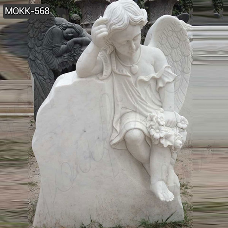 Detailed Carved Holding Wreath Cherub Winged Marble Monument Headstone (2)
