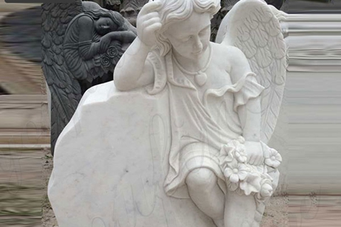 Detailed Carved Holding Wreath Cherub Winged Marble Monument Headstone (3)