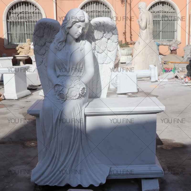 Engraved Winged Angel Statue Marble Tombstone for Client (1)