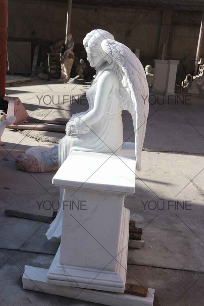 Engraved Winged Angel Statue Marble Tombstone for Client (3)