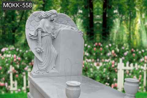 Female Wings White Marble Coffin Standing Angel Monument (4)