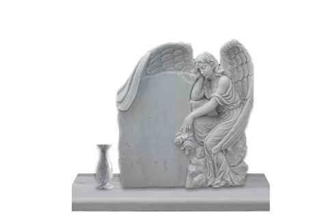 Hand Carved Engraved Winged Angel Statue Marble Tombstone (2)