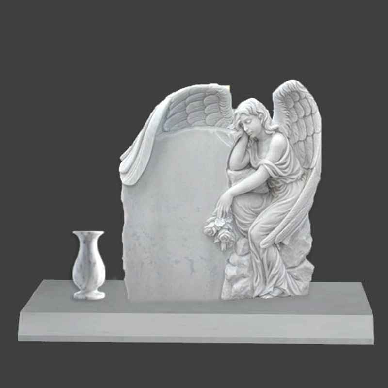 Hand Carved Engraved Winged Angel Statue Marble Tombstone (4)