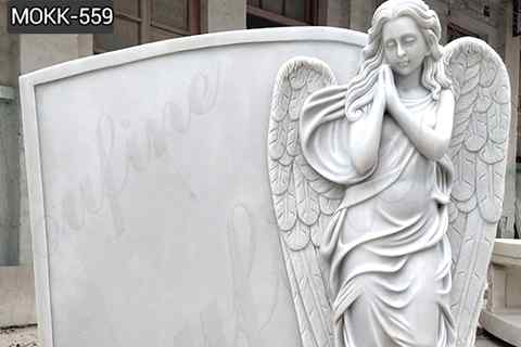 Hand Carved Engraved Winged Angel Statue White Marble Tombstone (2)