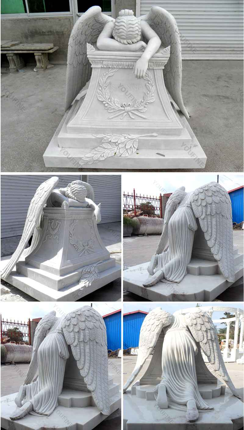 Hand Carved Weeping Winged Angel White Marble Tombstone (1)