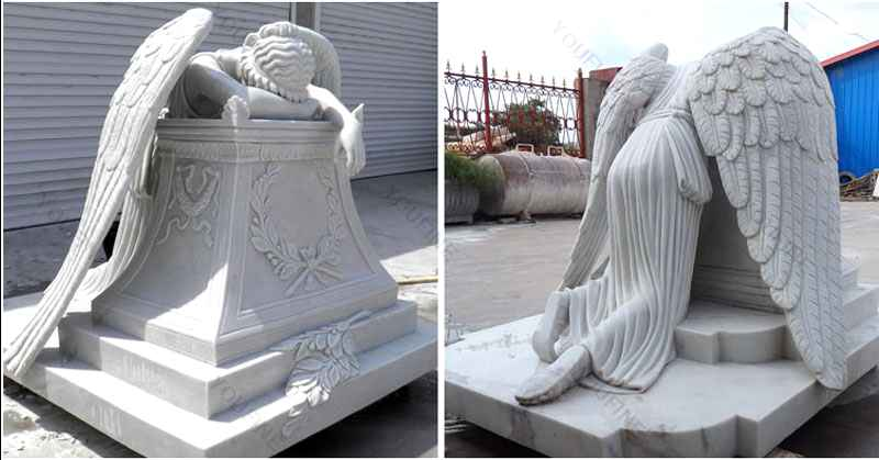 Hand Carved Weeping Winged Angel White Marble Tombstone (2)