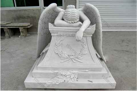 Hand Carved Weeping Winged Angel White Marble Tombstone (3)