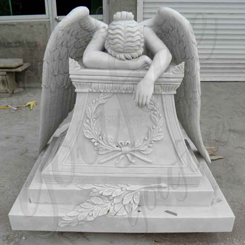 Hand Carved Weeping Winged Angel White Marble Tombstone (4)