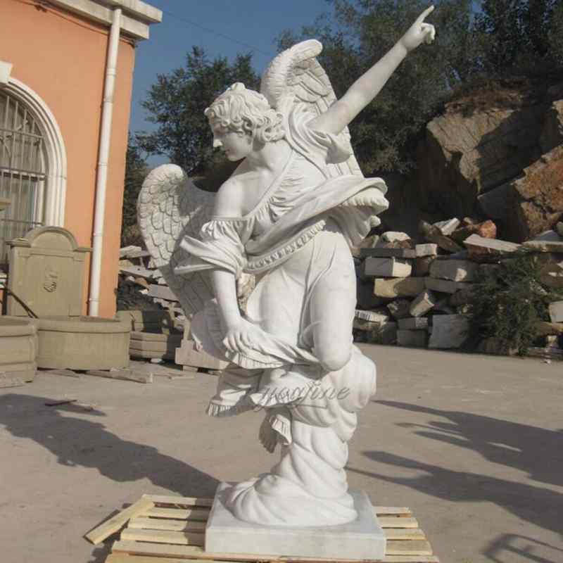 Hand Carved White Marble Natural Stone Angel Statue for Customer (1)