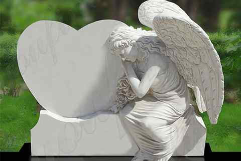 Handmade White Angel Marble Heart Tombstone Monument (5)