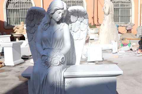 Large Female Wings White Marble Sitting Angel Monument (2)