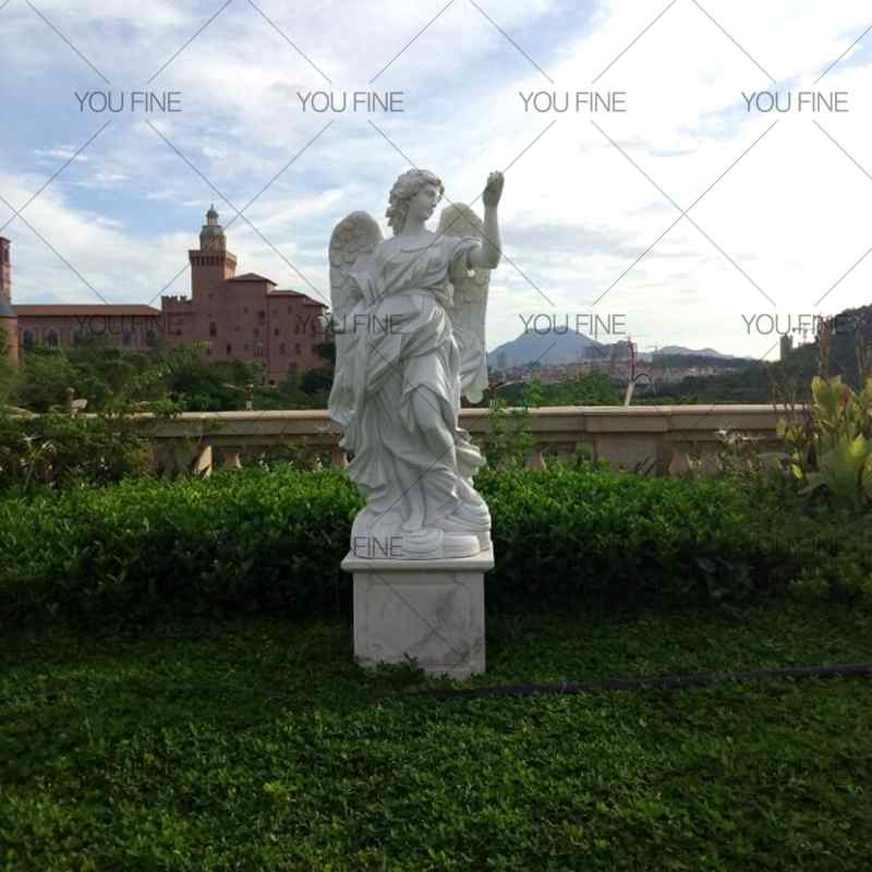 Large White Marble Angel Statue for Customer (1)