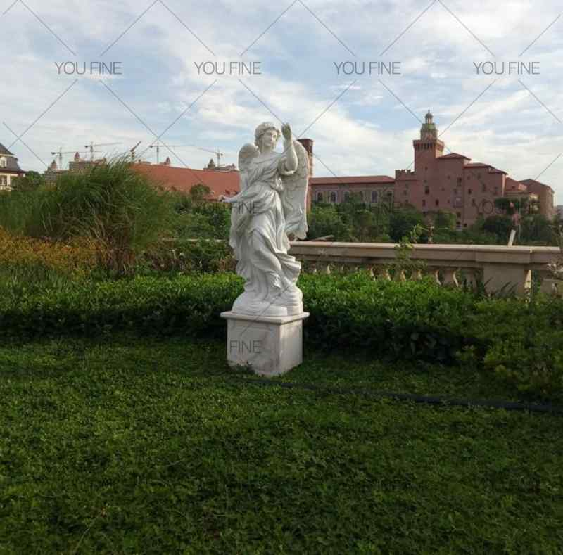 Large White Marble Angel Statue for Customer (4)