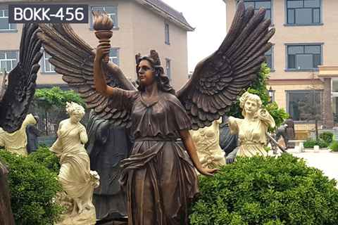 Life Size Holding Torch Bronze Female Angel Statue (3)