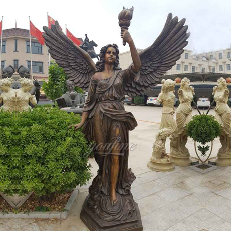Life Size Holding Torch Bronze Female Angel Statue for Customer (3)