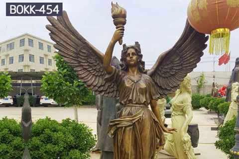 Life Size Holding Torch Bronze Female Angel Statues (1)_副本
