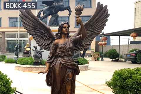 Life Size Holding Torch Bronze Female Angel Statues (2)