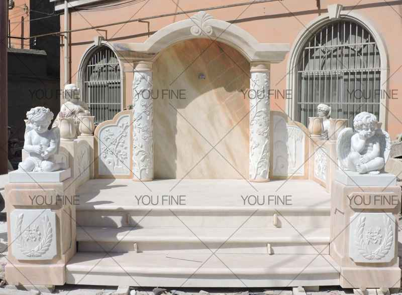 Luxury White Marble Cherubs Statue (4)