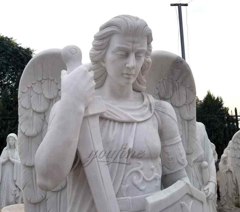 Religious Natural Marble White Archangel Saint Michael Statue (3)