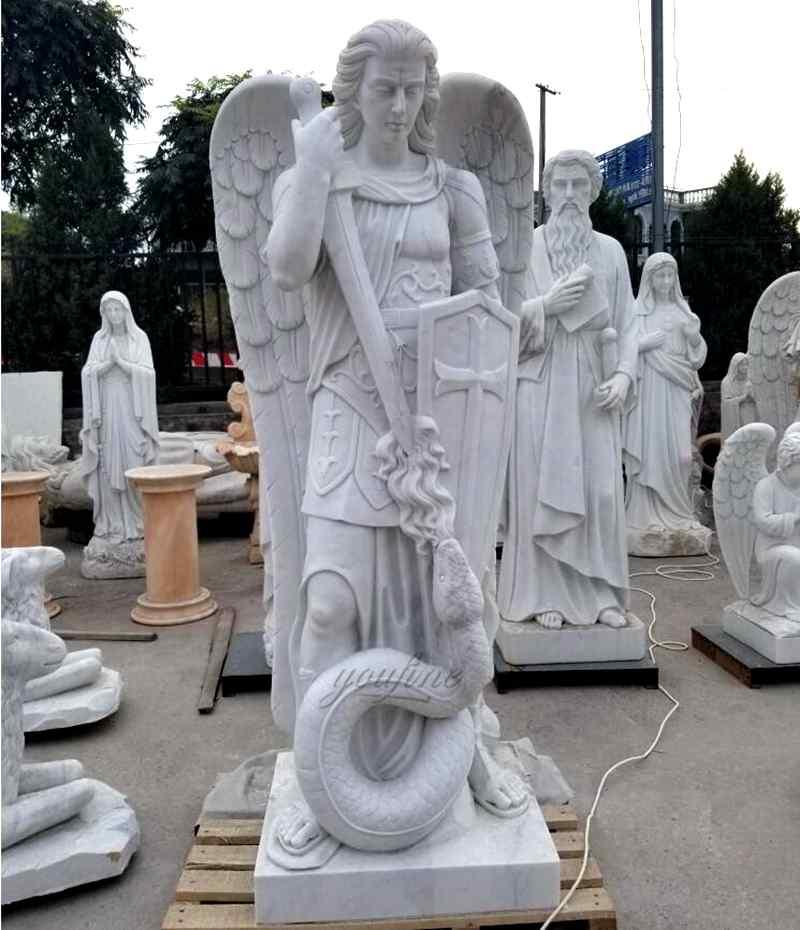 Religious Natural Marble White Archangel Saint Michael Statue (4)