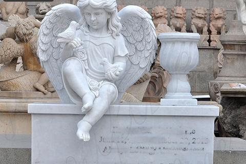 Sitting Cherub Statue White Marble Tombstone Monument (4)