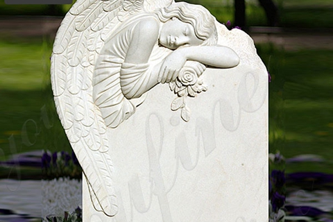 Sleeping Angel Flower White Marble Headstone (5)