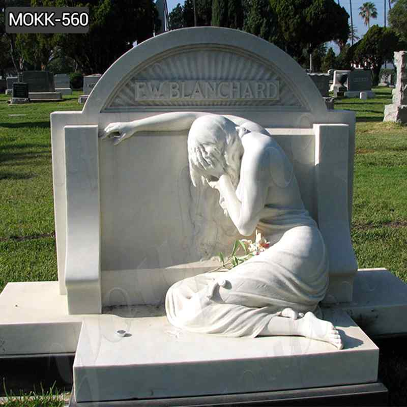 Weeping Angel Statue White Marble Tombstone Monument (4)