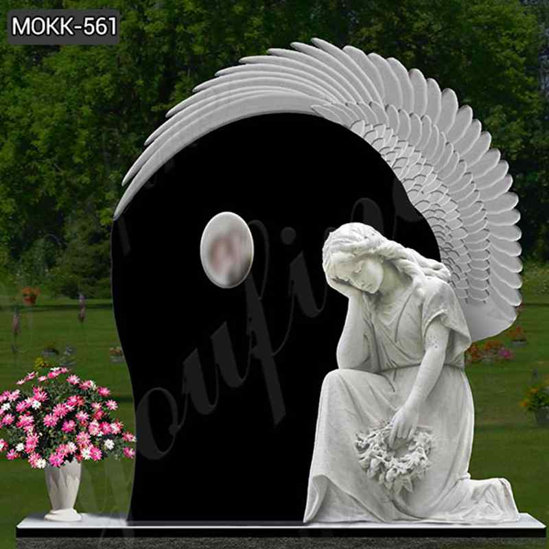White Marble Angel Statue Black Granite Monument (4)