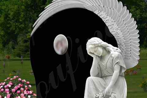 White Marble Angel Statue Black Granite Monument (5)
