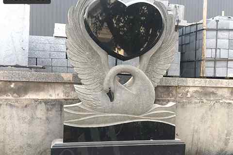 Cemetery Natural Marble Granite Swan Heart Monument (5)