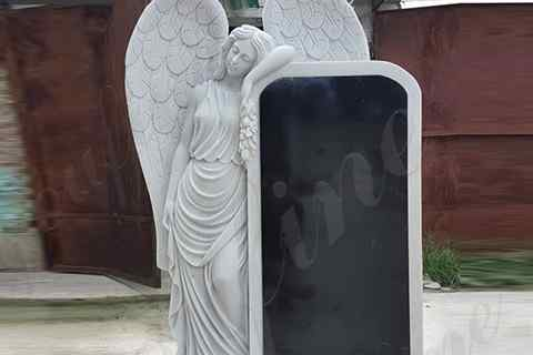 Custom White Marble Angel Statue And Black Granite Monument (5)
