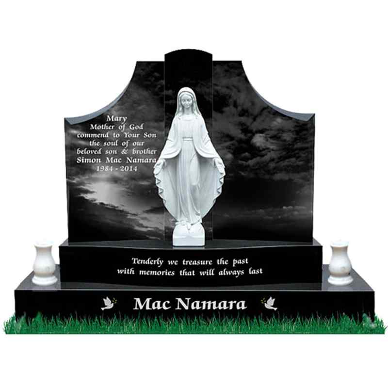 Customized Religious White Virgin Mary Statue And Black Granite Tombstone (3)